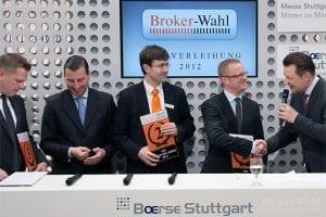 Die 3 Sieger der Kategorie CFD Broker des Jahres 2012 (von links nach rechts): Daniel Schneider von der comdirect, Frank Wiedemann von Flatex sowie Holger Fertig vom Sieger RBS marketindex