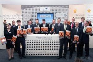 Gruppenfoto der Sieger der Brokerwahl 2012 - ein imposantes Bild.