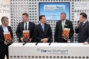 Die Sieger der Kategorie Fonds & ETF Broker des Jahres 2012: Matthias Bayer (ING DiBa), Daniel Schneider (comdirect) und Arne Kolb (DAB Bank)