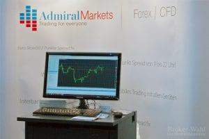 Der Stand des Forex und CFD-Brokers Admiral Markets mit einem Terminal zur Präsentation der Handelssoftware