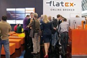 Messestand des Onlinebrokers Flatex auf der Finanzmesse Invest 2012 - durchgehend gut besucht!