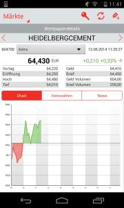 S Broker Mobile App Android Wertpapierübersicht