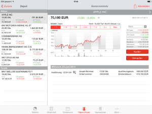 S Broker Mobile App Ipad Depotübersicht