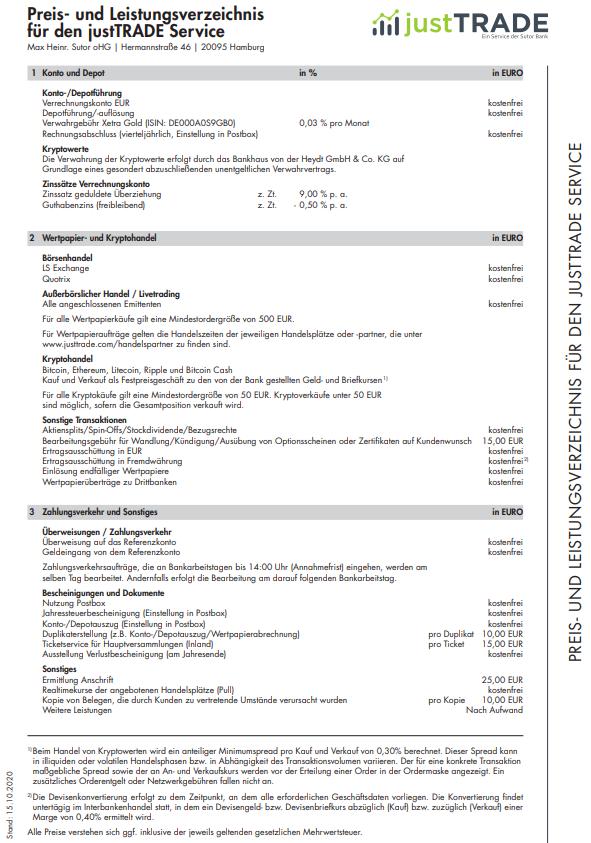 Preis und Leistungsverzeichnis JustTRADE