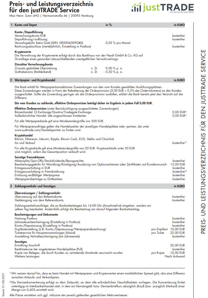 Preis- und Leistungsverzeichnis justTRADE