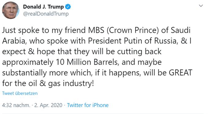 Donald Trump Ölpreis Twitter