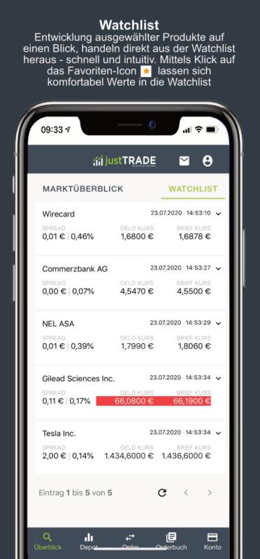 justtrade Watchlist App