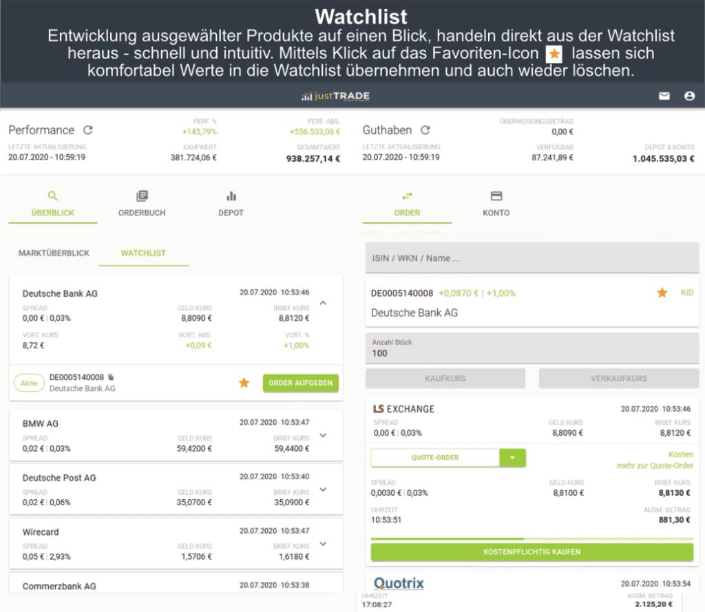 justtrade Watchlist