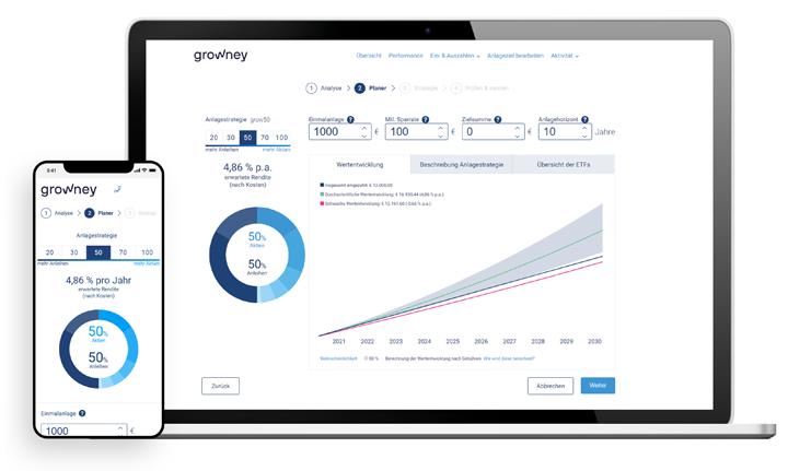 Ansicht der Anlagestrategie und voraussichtlichen Wertentwicklung auf Desktop und Mobil
