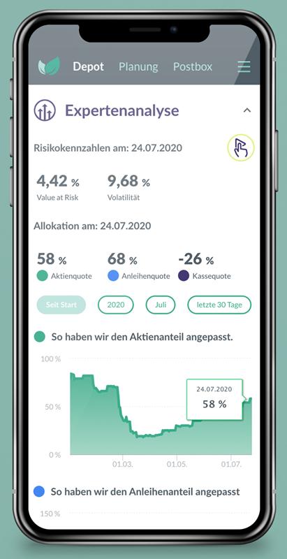 Mobile Ansicht der täglich aktualisierten Analyse des eigenen Portfolios